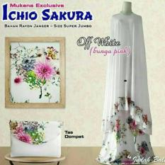 Mukena Bali Ichio Sakura Size SUJU PUtih - Bunga Pink