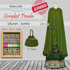 Spesifikasi Mukena Bali Rayon Ukuran Jumbo Songket Premium Warna Hijau Army Dan Harga