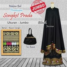 Mukena Bali Rayon Ukuran Jumbo Songket Premium Warna Hitam Black Mukena Bali Diskon 30