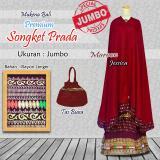 Jual Mukena Bali Rayon Ukuran Jumbo Songket Premium Warna Merah Maroon Original