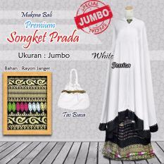 Mukena Bali Rayon Ukuran Jumbo Songket Premium Warna Putih White