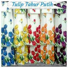Mukena Bali Super Motif Tulip Tabur Putih