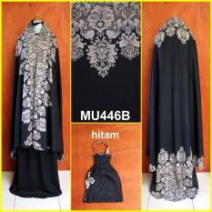 Cara Beli Mukena Batik Elegan Motif Bunga Untuk Dewasa Semi Jumbo Warna Dasar Hitam Mu446B