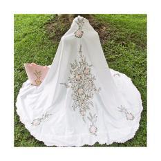 Jual Mukena Bordir Manual Cantik Warna Putih Motif Bunga Mukena Telekung Branded
