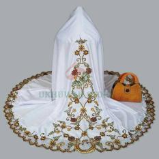 Mukena Cantik dan Elegan Ukhuwah Semi Sutra Dove Bordir putih -  Coklat