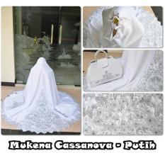 Harga Mukena Cantik Terbaru Semi Sutra Velvet Motif Elegan Putih Mukena Telekung Ori