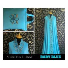 Beli Mukena Katun Cantik Mewah Elegan Murah Warna Baby Blue Terbaru