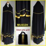 Jual Beli Online Mukena Katun Rayon Polos Hitam Variasi Pita Gold Mu432H