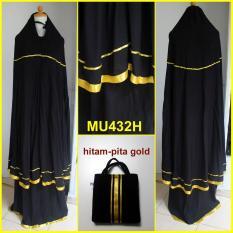 Jual Mukena Katun Rayon Polos Hitam Variasi Pita Gold Mu432H Multi