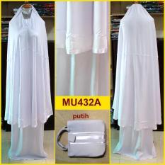 Mukena Putih Katun Rayon Polos Lis Pita - MU432A (Pita Putih)