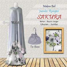Mukena Rayon Bali Ukuran Jumbo Rampel Sakura Warna Grey Abu Putih