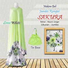 Mukena Rayon Bali Ukuran Jumbo Rampel Sakura Warna Hijau Lime Putih