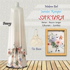 Mukena Rayon Bali Ukuran Jumbo Rampel Sakura Warna Ivory