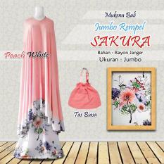 Mukena Rayon Bali Ukuran Jumbo Rampel Sakura Warna Peach Putih