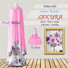 Mukena Rayon Bali Ukuran Jumbo Rampel Sakura Warna Pink Putih