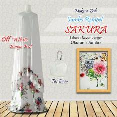 Mukena Rayon Bali Ukuran Jumbo Rampel Sakura Warna Putih Bunga Merah Red