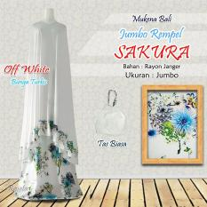 Mukena Rayon Bali Ukuran Jumbo Rampel Sakura Warna Putih Bunga Turkis