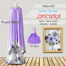 Mukena Rayon Bali Ukuran Jumbo Rampel Sakura Warna Ungu Purple Putih