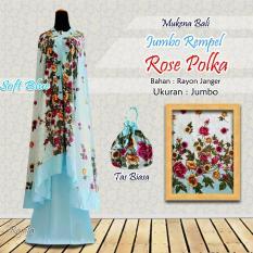 Mukena Rayon Bali Ukuran Jumbo Rempel Bunga Mawar Polka Warna Soft Blue