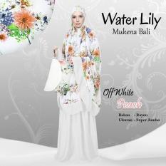 Mukena Rayon Bali Ukuran Super Jumbo Water Lily Premium Warna OffWhite Peach (Putih Peach)