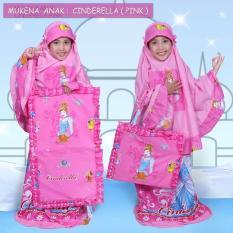 Mukena Rukuh Anak Katun Tas Sajadah Karakter Pricess Cinderella Pink