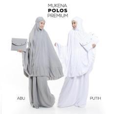 Harga Mukena Telekung Dewasa Katun Rayon Polos Janger Premium Abu Putih Yang Murah