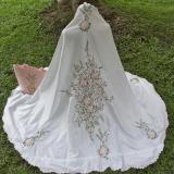 Beli Mukena Telekung Rukuh Semi Sutra Velvet Shahnaz Putih Bordir Peach Multi Murah