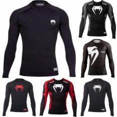 Multi Legend New Hot SALE Wear Long Sleeved Training Tights T-shirt MMA UFC Venom Tights T-shirt Venum Wand Inferno Training Tights T-shirt -Red-Int:3XL - intl