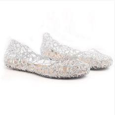 Beli Warnawarni Panas Wanita Ventilasi Crystal Jelly Dicungkil Sandal Flat Sepatu Nyicil