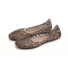 Warnawarni Panas Wanita Ventilasi Crystal Jelly Dicungkil Sandal Sepatu Datar Intl Asli