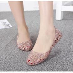 Beli Warnawarni Panas Wanita Ventilasi Crystal Jelly Dicungkil Sandal Sepatu Datar Intl Cicilan