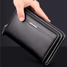 Spesifikasi Multifunction Double Zipper Long Wallet For Men Large Capability Handbag Clutch High Quality Cowhide Leather Fashion Business Phone Bag(Black) Intl Terbaik