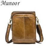 Diskon Munoor 100 Kulit Sapi Asli Bag Bag Shoulder Crossbody Tas Pria Travel Messenger Bags Intl