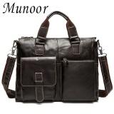 Munoor Kulit Sapi Asli Bag Bag Shoulder Crossbody Tas Pria Travel Messenger Tas Koper Kulit Laptop Handbag Intl Promo Beli 1 Gratis 1
