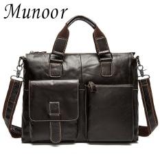 Beli Munoor Kulit Sapi Asli Bag Bag Shoulder Crossbody Tas Pria Travel Messenger Tas Koper Kulit Laptop Handbag Intl Seken