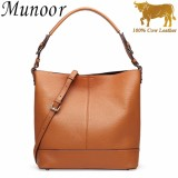 Diskon Munoor High Quality 100 Genuine Cow Leather Women Top Handle Tote Bags Beg Kulit Tulen Tas Kulit Asli Tui Da Chinh Hang กระเป๋าหนังแท้ Brown Intl Munoor