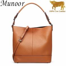 Toko Munoor High Quality 100 Genuine Cow Leather Women Top Handle Tote Bags Beg Kulit Tulen Tas Kulit Asli Tui Da Chinh Hang กระเป๋าหนังแท้ Brown Intl Online