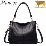 Jual Munoor High Quality 100 Genuine Cow Leather Women Tote Top Handle Bags Beg Kulit Tulen Tas Kulit Asli Tui Da Chinh Hang กระเป๋าหนังแท้ Intl Original