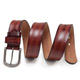 Jual Beli Munoor Mens Soft Handmade Vertical Stripe 100 Genuine Top Layer Cow Leather Belt Brown Intl