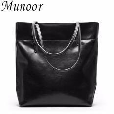 Beli Munoor Wanita Handbags 100 Kulit Sapi Asli Modis Tas Tote Casual Shoulder Bags Dompet Warna Hitam Intl Online Terpercaya