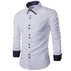 Murah Meriah [Fonzi white OT] kemeja pria katun stretch putih