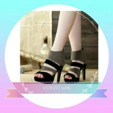 Spesifikasi Murah Meriah High Heels Ns 05 Hitam Abu Beserta Harganya