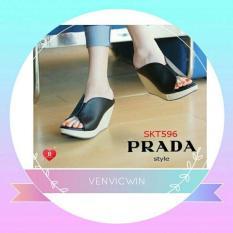 Murah Meriah Sandal Wedges LS 08 Hitam