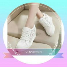 Murah Meriah Sepatu Wedges Brukat MD 10 Putih