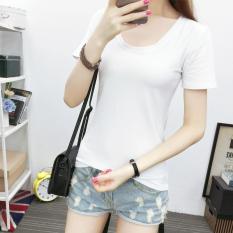 Kaos Katun Warna Putih Polos Baju Kaos Wanita Ramping (Putih #822)