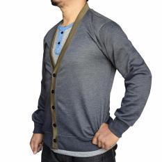 Harga Muscle Fit Cardigan Pria V Neck Kombinasi Abu Online Jawa Timur