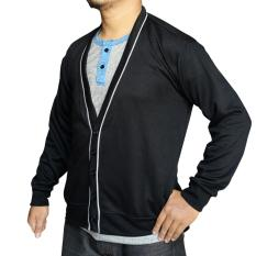 Situs Review Muscle Fit Cardigan Pria V Neck Piping Hitam