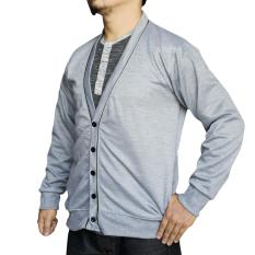 Beli Muscle Fit Cardigan Pria V Neck Piping Misty Abu Muda Muscle Fit