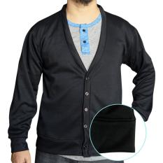 Toko Muscle Fit Cardigan Pria V Neck Polos Hitam Muscle Fit