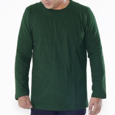 Muscle Fit Kaos Polos T-shirt O-neck Lengan Panjang Cotton - Hijau Army